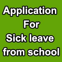 Application for Sick Leave in School by Student