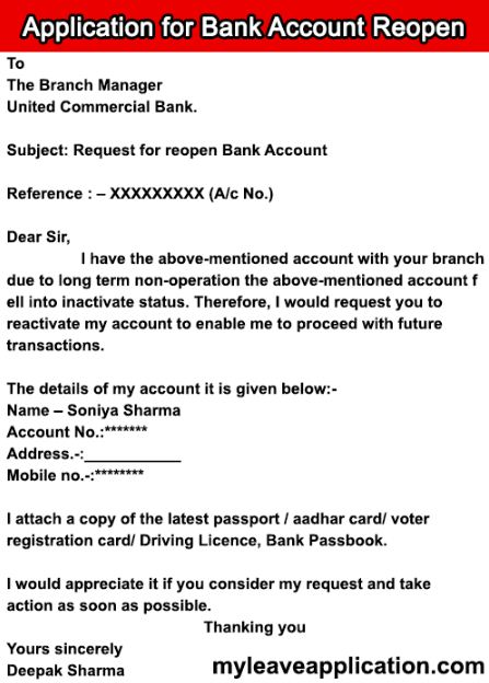 Application for Reopening Bank Account
