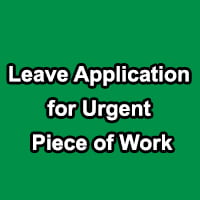 Application for Urgent Piece of Work in english