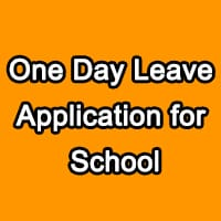 One Day Leave Application for School Principal