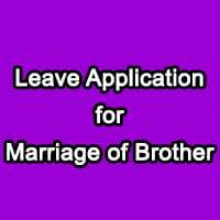 Leave Application for Brother Marriage to the Principal