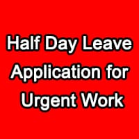 Half Day Leave Application for Urgent Work in Office