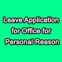 leave application to boss for personal reasons