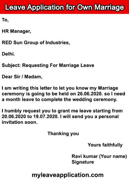 Leave Application for Own Marriage