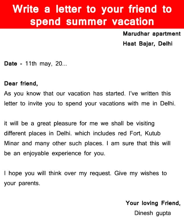 3 Write A Letter To Your Friend To Spend Summer Vacation