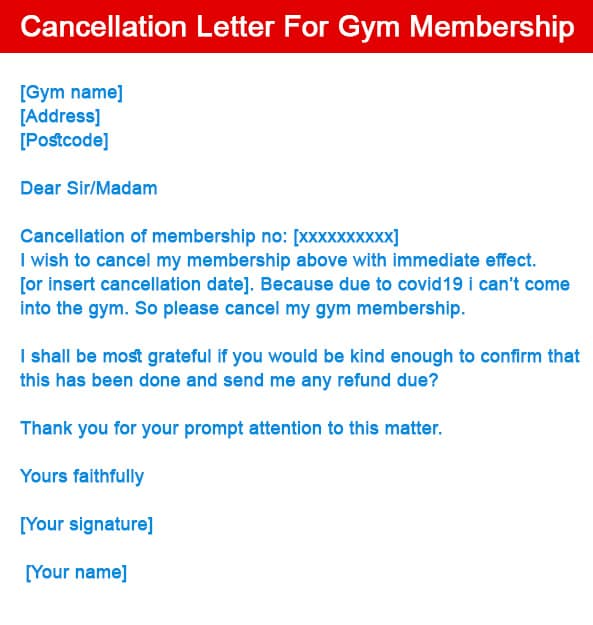 Cancellation Letter For Gym Membership