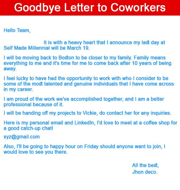 Goodbye letter to coworkers