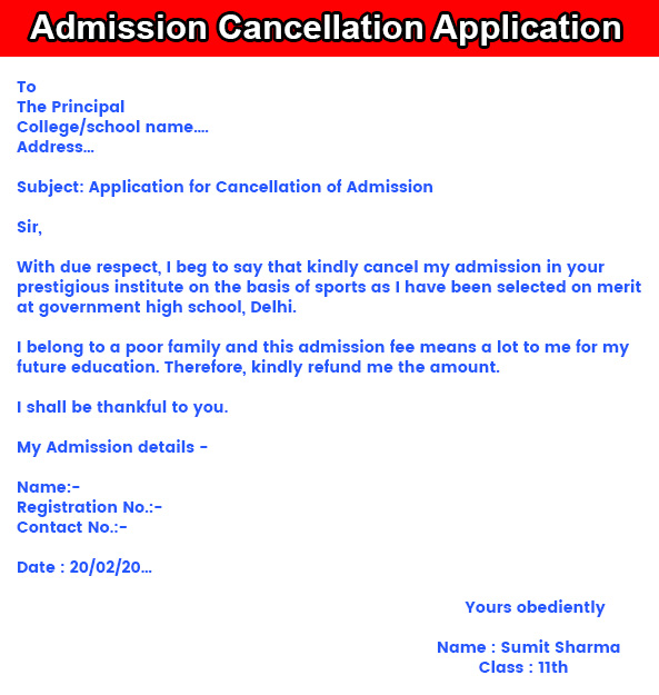 Admission Cancellation Application in English