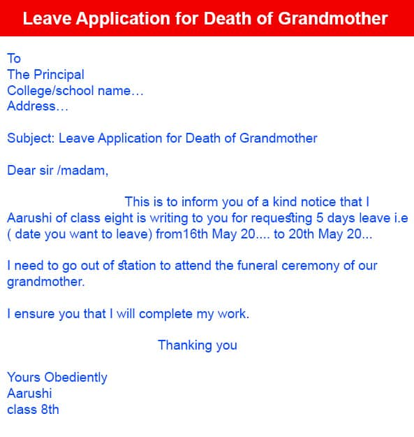 Leave Application for Death of Grandmother